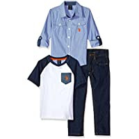 U.S. Polo Assn. Boys' Long Sleeve Shirt, T-Shirt and Pant Set