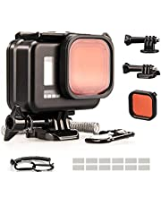 Lammcou Waterproof Case Kit Compatible with GoPro Hero9 Black, Black 60M Underwater Diving Protective Housing Shell with Red Filter & Safety Rope & Anti-Fog Inserts & Mount for Hero 9 Accessories