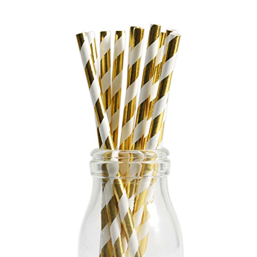 Andaz Press Gold Foil Striped Straws, 50-Pack, Shiny Metallic Colored Wedding Birthday Baby Shower Christmas Party Supplies Decorations