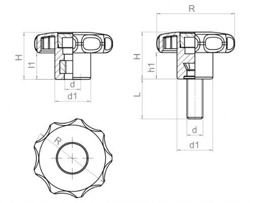 4 St/ück Sterngriffmuttern M 6