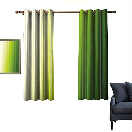 longbuyer Sage Blackout Curtains Ombre Style Composition with Color Shades and Vertical Digital Stripes Noise Reducing 63