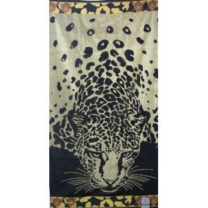 Luxury Set of two (2) Pieces Oversized Beach Towels -Tiger on the beach- 100% Egyptian Cotton
