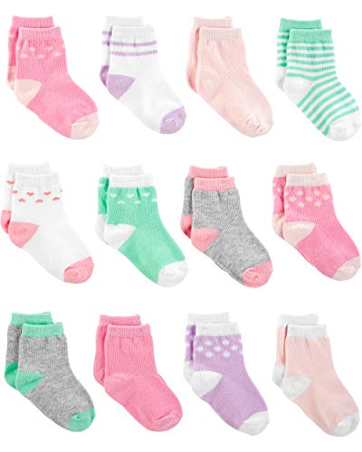 Simple Joys by Carter's Girls' 12-Pack Socks, Pink/Purple/Mint, 3-12 Months from Simple Joys by Carter's