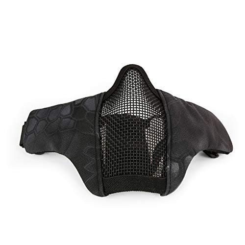(Leoie Outdoor Steel Wire Breathable Half Face Protective Mask Black Pythons Grain One Size)