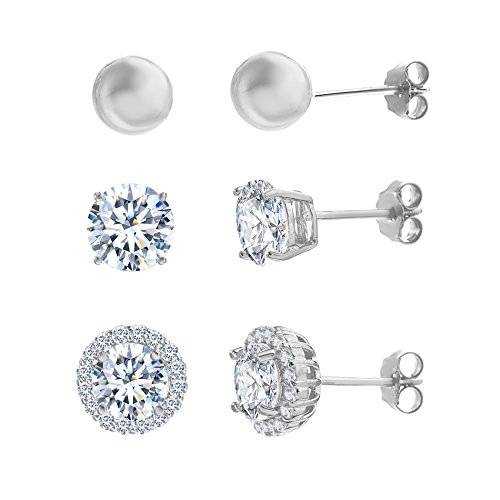 Sterling Silver Cubic Zirconia Halo Ball Trio Post Earring Set (White Gold) (How To Make A Halo Costume)