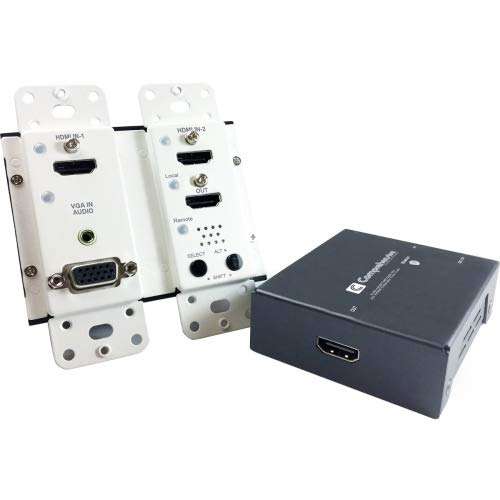 Comprehensive Cable & Connectivity - CHE-HDBTWP230K - Comprehensive HDBaseT Wall Plate Extender TX/RX Kit (up to 230ft) with HDMI, VGA and Audio