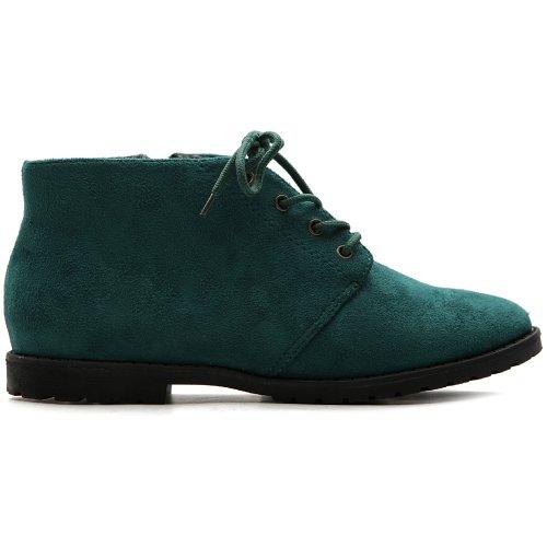 Ollio Women's Flat Shoe Classic Lace Up Zip Faux Suede Oxford(8 B(M) US, Dark Green)