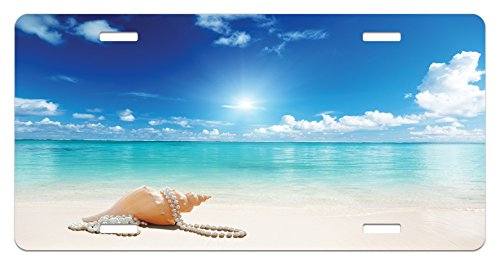 Ambesonne Seashells License Plate, Seashells and Pearls on Sandy Beach Tropical Ocean Dreamiest Coastal Charm, High Gloss Aluminum Novelty Plate, 5.88 L X 11.88 W Inches, Turquoise Cream