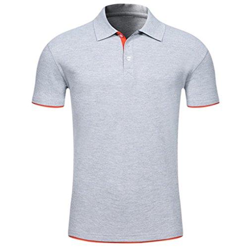 Bluestercool Hommes Polo Shirt Tops Été Casual Manches Courtes Slim Boutons T-Shirt 07