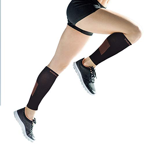 (Thx4 Copper Calf Compression Sleeves (15-20mmHg)-Guaranteed Copper Infused Leg Compression Socks-Shin Splint & Pain Relief - Great for Workout,Travel,Maternity, Running, Cycling, Nurses(1Pair))