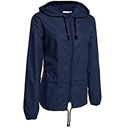 Nadition Coat Clearance🌹 Women's Casual Lightweight Rain Jacket Outdoor Packable Waterproof Hooded Raincoat