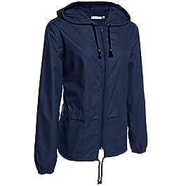 Nadition Coat Clearance Women's Casual Lightweight Rain Jacket Outdoor Packable Waterproof Hooded Raincoat