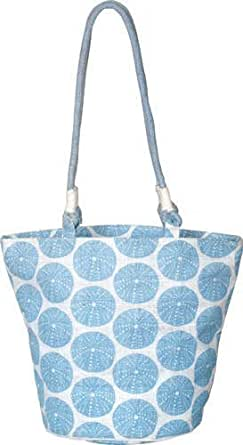 """Eco-friendly Burlap Bag brightly skyblue color printed Bucket Jute Bags with zippere closure with long Shoulder length Cotton Webbed handles and 18""""W X 14""""H X 10"""" round gusset - Clearance Sale"""