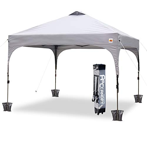 ABCCANOPY Canopy Tent 10 x 10 Pop-Up Commercial Canopy Instant Shelter Tents Popup Outdoor Portable Shade with Wheeled Carry Bag Bonus 4 x Weight Bags, 4 x Ropes& 4 x ()
