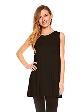 Womens sleeveless a line tank top tunic solid basic long for Womens denim tunic shirt