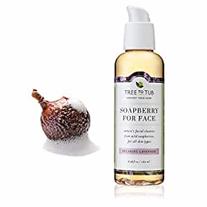 Sensitive Skin Facial Cleanser - 6oz Organic Face Wash, pH Balanced, Moisturizing for Dry, Oily, Eczema, Psoriasis, Acne Treatment from Wild Soapberry, Natural Soap Nuts - Lavender - Tree to Tub