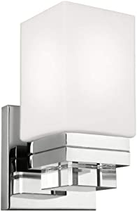 "Feiss VS20601PN Maddison Crystal Wall Vanity Bath Sconce Lighting, Chrome, 1-Light (5""W x 9""H) 75watts"
