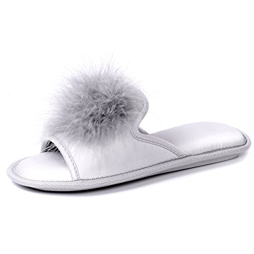 Women Open Toe Slippers | Pom Pom Fur Slippers | House Slide Clog| Slip on Indoor Outdoor Shoes | Memory Foam Anti-Slip Sole (8-9, Silver Pom) by Caramella Bubble (Image #2)