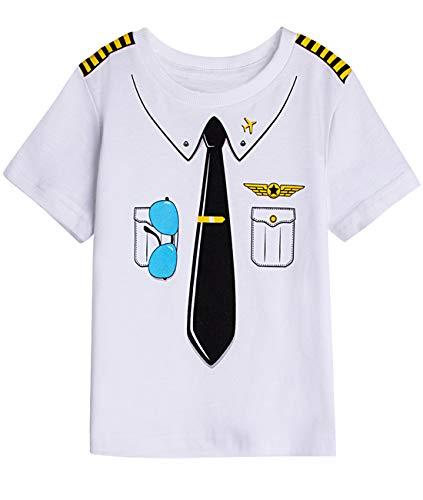 COSLAND Toddler Baby Boys' Crewneck Halloween Costume Pilot T-Shirt (Pilot, 2T) ()