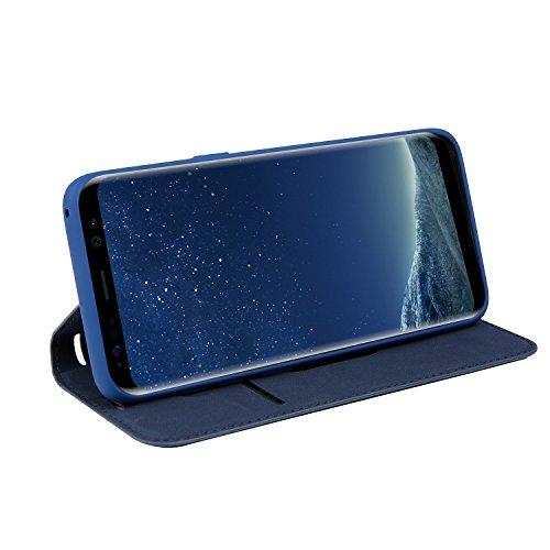 Samsung Galaxy S8 Plus Hülle, Samsung Galaxy S8 Plus Echte Rindsleder Brieftasche Hülle , COZY HUT® [Premium Leder Serie] [Wallet Case] Praktishe Ledertasche [Blau] Integrierter Aufstell Funktion und  Schatz blaues Leder