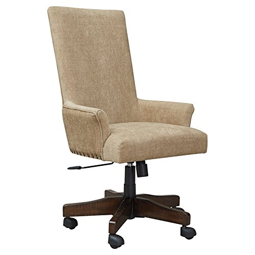 Ashley Furniture Signature Design – Baldridge Swivel Home Office Chair – Swivel Desk Chair – Light Brown