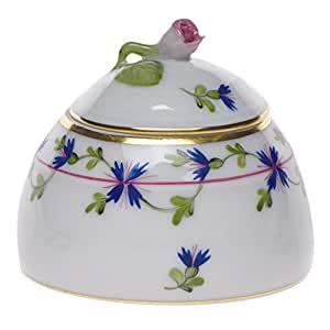 Herend Blue Garland Honey Pot With Rose Lid