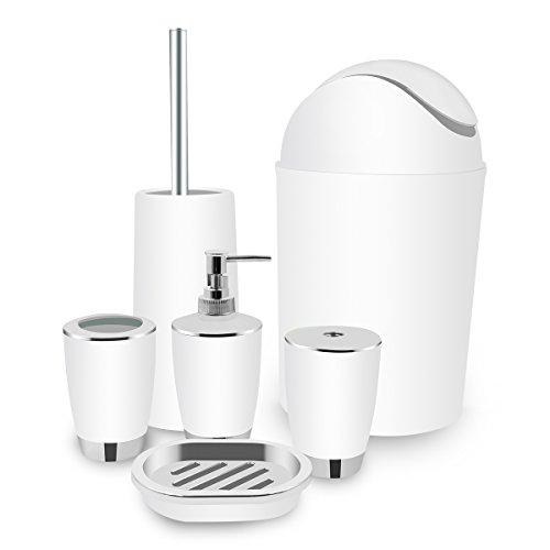 White Bathroom Accessories, TEKITSFUN 6 Piece Plastic Bathroom Accessory Set, Soap Dispenser, lotion dispenser, Soap Bar Holder, Tooth Brush Holder, Trash Can, Toilet Brush Set, Rinse Cup-White