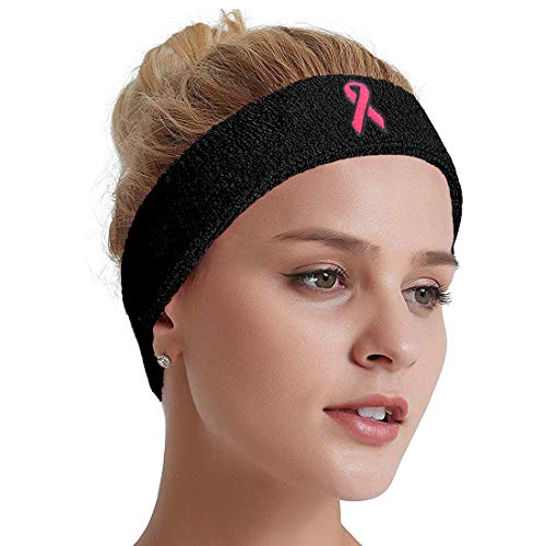 COOLOMG Stretchy Breast Cancer Awareness Pink Ribbon Cotton Sport Headband for Women, Teens, Girls. Perfect for Workouts, Yoga, Running, or Casual Wear Black