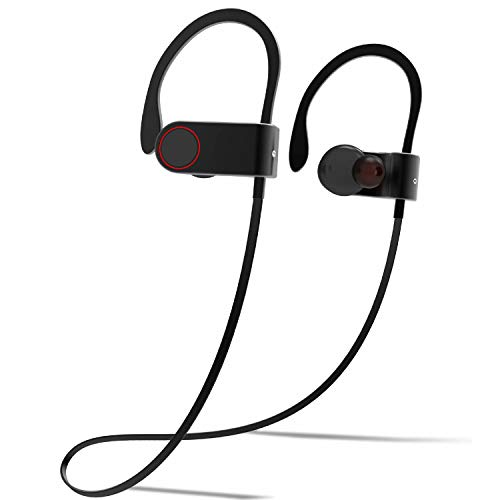 Bluetooth Headphones, Waterproof IPX6 Wireless Earbuds Sport, Richer Bass HiFi Stereo in-Ear Earphones w/Mic, Noise Isolating Headsets (Comfy & Fast Pairing) Secure Fit for Gym Running Workout