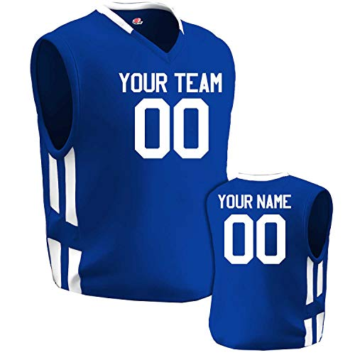 Custom Basketball Jersey Old School Style Royal Blue and White Adult Large
