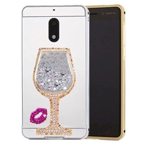 Mirror Goblet (HTC Desire 10 Pro Mirror Case, QKKE [Goblet Series] Metal Air Aluminum Bumper Detachable + Mirror Hard Back Case 2 in 1 Cover Ultra-Thin Frame for HTC Desire 10 Pro(Goblet Diamond/Silver))