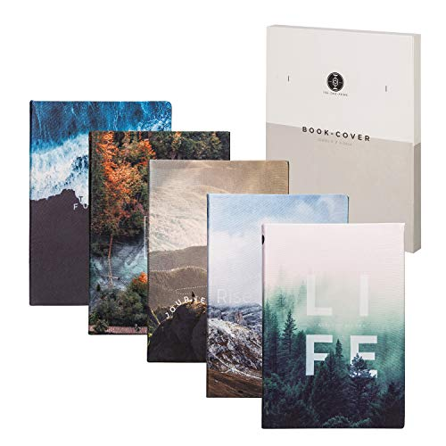 Stretchable Book Covers for Jumbo Large Textbooks up to 9 x 12 Inches - 5 Pack