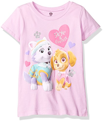 Paw Patrol Girls' Little Short Sleeve Tee Shirt, Princess Lilac, 4