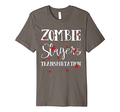 Zombie Slayer Costume Men (Mens Halloween Costume Zombie Slayer Bloody T-Shirt XL Asphalt)