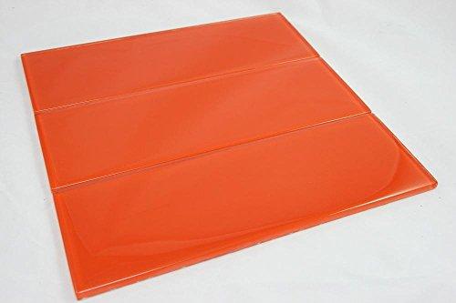 Tile Generation 4x12 Fire Orange Glass Subway Tile - Kitchen and Bath Backsplash Wall Tile (3pcs) THBG-19