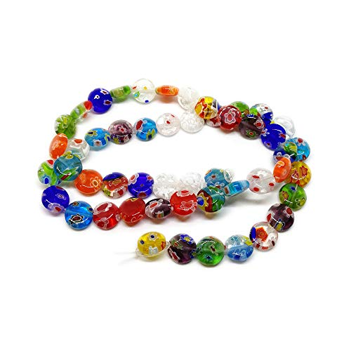 Millefiori Glass 8mm - Beading Station 50-Piece Mix Millefiori Lampwork Glass Coin Beads, 8mm