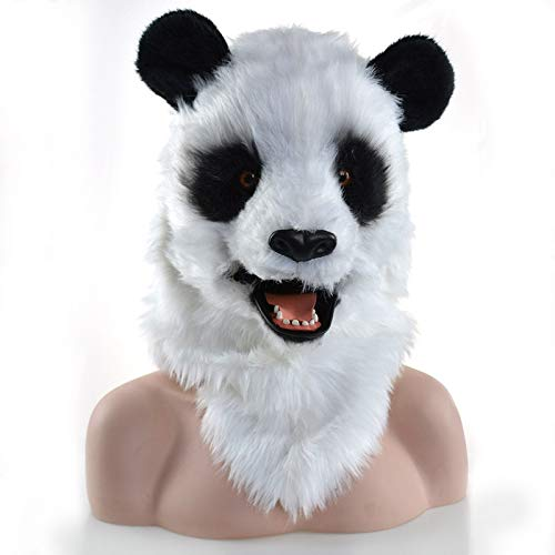 KX-QIN Halloween Party Moving Mouth Panda Mask Animal Fursuit Mask Animal Carnival Panda Masks Deluxe Novelty Halloween Costume Party Latex Animal Head Mask for Adults and Kids (Color : White) by KX-QIN