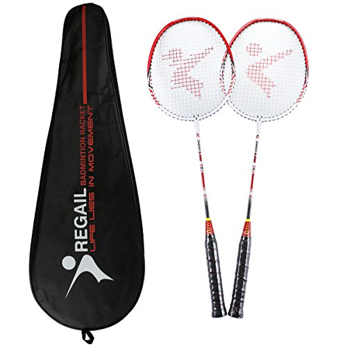 YJONS 2 Pack Trained Badminton Rackets, Sports Carbon Fiber Lightweight Badminton Racquet, for Professional & Beginner Players (Blue)