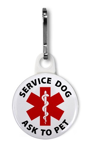SERVICE DOG Ask To Pet Red Medical Alert 1 inch White Zipper Pull Charm