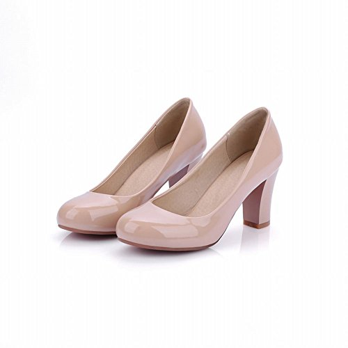 Mee Shoes Office Patent Leather Block-heel Solid Color Court Shoes apricot d915gY