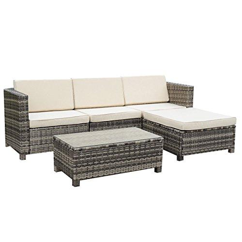 B M Rattan Coffee Table: Tangkula 5 PC Outdoor Patio Rattan Furniture Set Sectional