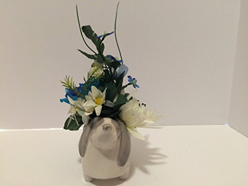 ANIMAL FUN - CERAMIC DOG VASE - WHITE, BLUE, YELLOW MIXED FLORAL by Peters Partners Design