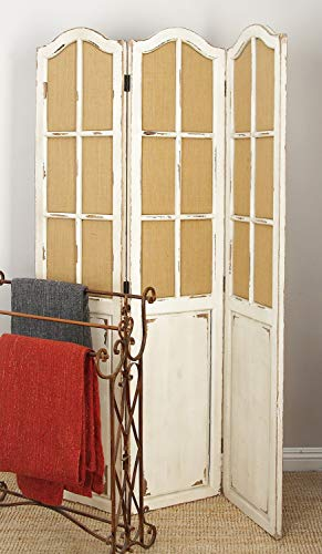 Deco 79 Simple and Elegant Folding Wooden Screen with Paneled Design