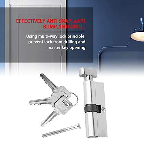 70mm Aluminio Puerta de metal Cilindro Cerradura de seguridad Anti-Snap Anti-Broca con 3 teclas Conjunto de herramientas de tono plateado
