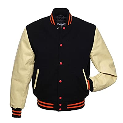 C145 Black Wool Natural Cream Leather Varsity Jacket Letterman Jacket
