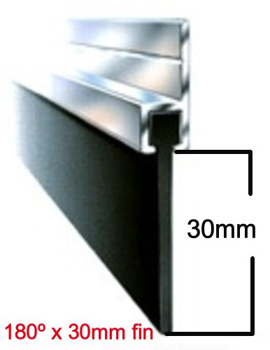 7ft / 2134mm X 30Mm x 180º Aluminium And Rubber Draught Excluder Seal For The Bottom Of A Garage Door