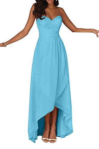 Spitze A Brautjungfernkleider Abendkleider lo Champagner Charmant Linie Ballkleider Navy Damen Blau Hi Herzausschnitt Blau IRggAP