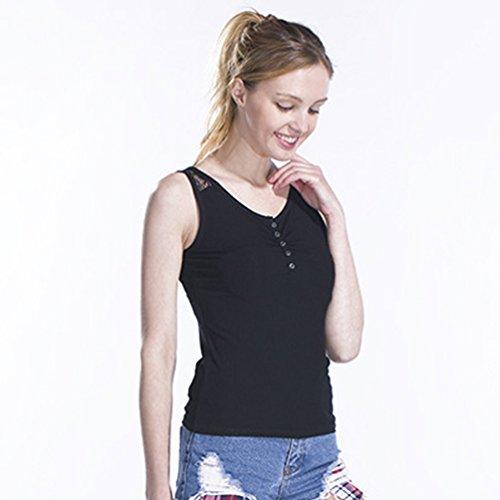 Sronjn Mujer Sin Mangas Camiseta Básica Tank Top Con Empalme de Encaje Negro # 2