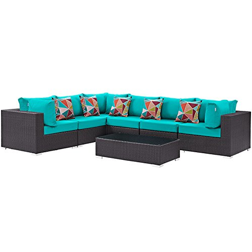 Modway Convene Wicker Rattan 7-Piece Outdoor Patio Sectional Sofa Furniture Set in Expresso Turquoise