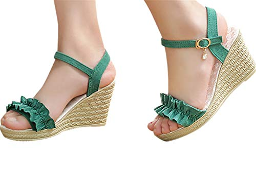 Fainosmny Fashion Thick Bottom Sandals Platform Womens Shoes Buckle Strap Wedges Sandals Peep Toe Summer Shoes Sandals Green